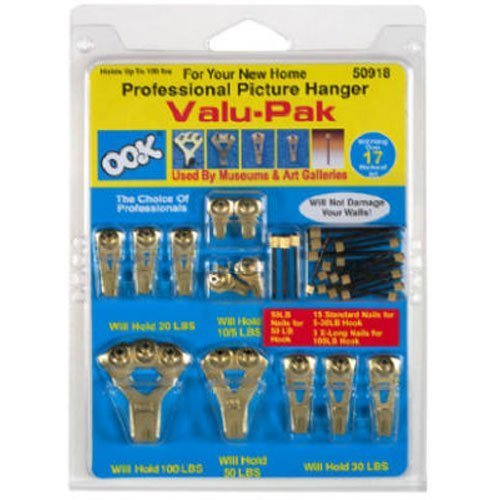 OOK by Hillman 50918 Professional Picture Hanging Value 17 Piece Pack Kit, hangs up to 17 frames 2-Pack