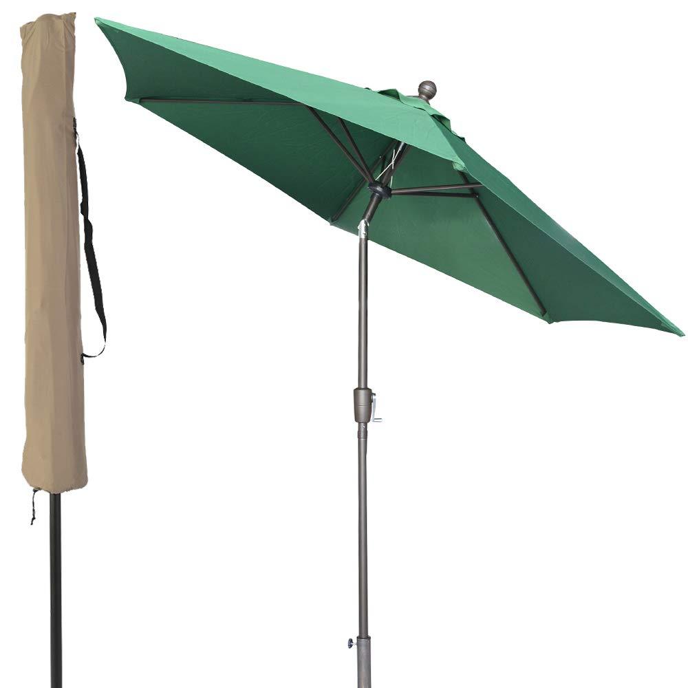 LCH 9 ft Umbrella Outdoor Patio Yard Market Table Umbrella 1.5'' Pole Push Button Easily Tilt Crank with Umbrella Cover (Green)