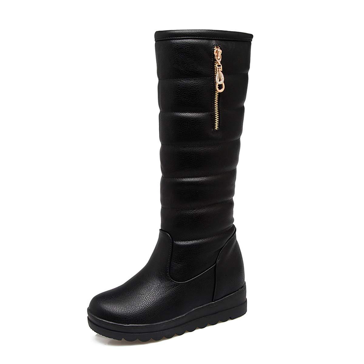C 37EU DANDANJIE Femmes Les Les dames Bottes de Neige Wedge Talon Mollet Bottes Hiver Chaud sans GlisseHommest Chaussures Bottes,A,30EU