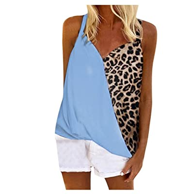 ANJUNIE Womens Summer Tank Tops Sleeveless,Boho Leopard Print Cami Shirt Tee Vest: Clothing