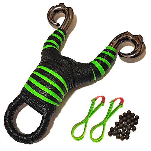 TEBE Slingshot - Hunting Outdoor Game Catapult for Kids Adult (Black Green)