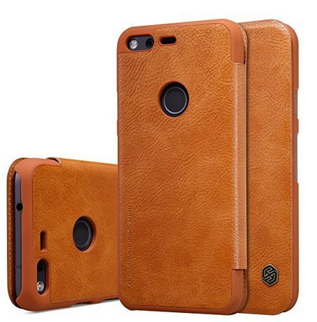 for Google Pixel Case, Nillkin Smart Sleep PU Leather Slim Thin Flip Cover with Card Holder Synthetic Leather Hard PC Inner Shell Hybrid Folio Flip Case for Pixel - Nillkin Leather Case