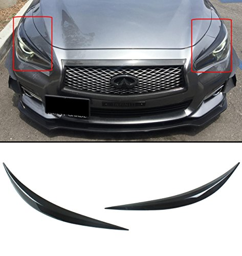(Cuztom Tuning Fits for 2014-2019 Infiniti Q50 Glossy Black ABS Headlight Cover Eyelid Eyebrows)