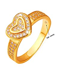 U7 Jewelry 18k Gold Plated Cubic Zirconia Heart Ring