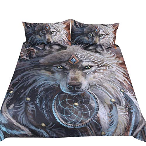 Wolf Dreamcatcher Bedding Duvet Cover Set Twin Size Indian Dream Catcher Animal 3D Printed Bedding Set for Adult Kids Bedroom Decorative Soft Microfiber Exotic Style Bohemia Comforter/Quilt Cover (Bedspread Twin Wolf)