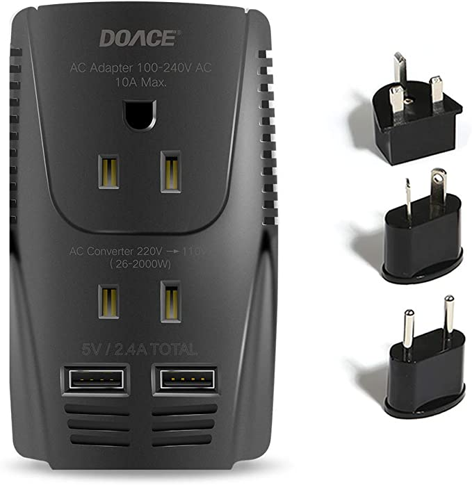 DOACE X11 2200W Travel Voltage Converter for Hair Dryer Straightener Curling Iron 10A Travel Power Adapter with 2.4A 4-Port USB and UK//AU//EU//US Plug Wall Chargers for Cell Phone Camera Tablet Laptop