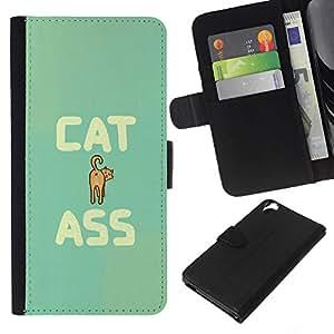 KLONGSHOP // Tirón de la caja Cartera de cuero con ranuras para tarjetas - Arte del gato del culo Cita divertida Animal Pet felina - HTC Desire 820 //