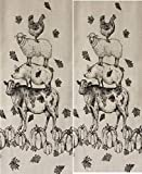 Autumn Fall Farm Animals 2pc Set Kitchen Hand Dish Towel ~ Chicken Sheep Cows Pig Pumkins