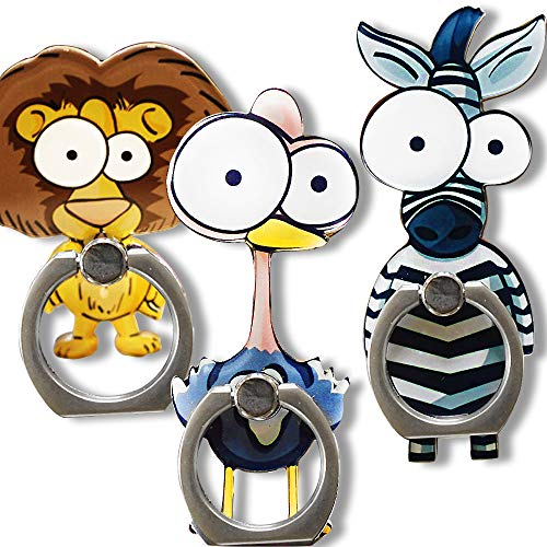 (Cell Phone Finger Ring Holder Cute Animal Smartphone Stand 360 Swivel for iPhone, Ipad, Samsung HTC Nokia Smartphones Tablet,by UnderReef (3 Packs C))