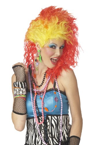 California Costumes Women's True Colors Wig, Red/Yellow, One Size (Fancy Dress 80s Style)