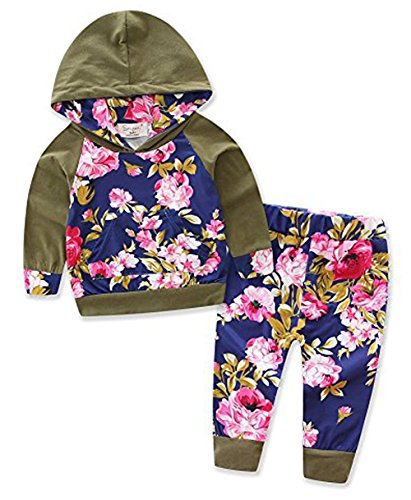 Thrivqyaf Baby Girls Floral Hoodie+ Floral Pant Set Leggings 2 Piece Outfits (6-12 Months, Army Green) -
