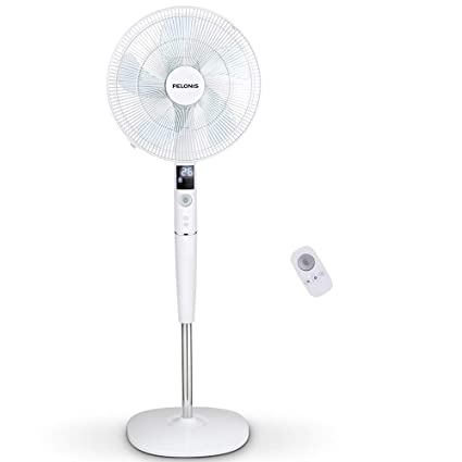 PELONIS Fan, Quiet DC Motor Oscillating Standing Pedestal Fan with Powerful  26 Speed, 5 Silent Modes, 12h On/Off Timer, Adjustable Height and Tilt,