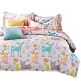 Svetanya Cartoon Deer Printed 3Pcs Duvet Cover Set 400TC 100% Soft Cotton Fabric Bedlinens 3Pcs Twin Size 173x218cm Kids Bedding Sets