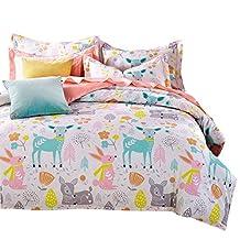 Svetanya Cartoon Deer Printed 3Pcs Duvet Cover Set 400TC 100% Soft Cotton Fabric Bedlinens Twin Size Kids Bedding Sets