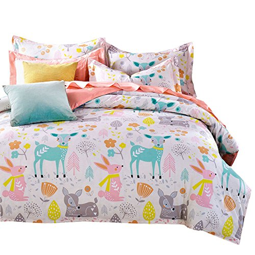 400tc 100% Cotton - Svetanya Cartoon Deer Printed 3Pcs Duvet Cover Set 400TC 100% Soft Cotton Fabric Bedlinens 3Pcs Twin Size 173x218cm Kids Bedding Sets