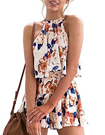 Omerker Women's Floral Sleeveless Romper Two Piece Summer Outfits Playsuit Short Jumpsuit (Small,Beige)