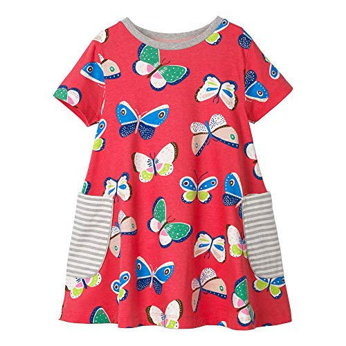 Hongshilian Little Girls Cotton Casual Dress Cartoon Print T-Shirt Short Sleeve Skirt Dresses(3T,Butterfly & Red)