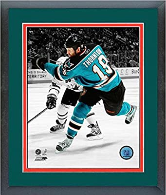 "Joe Thornton San Jose Sharks NHL Spotlight Action Photo (Size: 18"" x 22"") Framed"