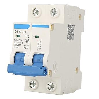 Interruptor de circuito en miniatura DZ47-63 2P 400V AC Interruptor de aire en miniatura Interruptor de protecci/ón contra fugas de aire 25A 40A 50A 63A 25A