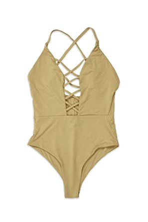 bfa17201dc45 Dippin' Daisy's Fabulous Caged Front Moderate Coverage One Piece Swimwear  Monokini Swimsuit - Beige Small
