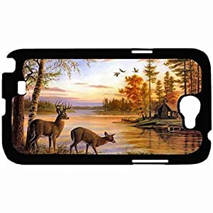 New Style Customized Back Cover Case For Samsung Galaxy Note 2 Hardshell Case, Back Cover Design Deer Personalized Unique Case For Samsung Note 2