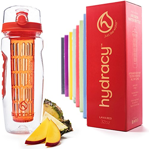 Hydracy Fruit Infuser Water Bottle - 32 Oz Sports Bottle with Full Length Infusion Rod, Time Mark and Insulating Sleeve Combo Set + 27 Fruit Infused Water Recipes eBook Gift - Lava Orange