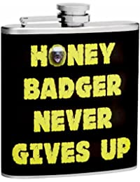 Investment 6oz Honey Badger Never Gives Up Hip Flask, Free Personalization online