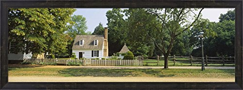 Fence in front of a house, Colonial Williamsburg, Williamsburg, Virginia, USA by Panoramic Images Framed Art Print Wall Picture, Espresso Brown Frame, 38 x 14 inches