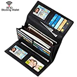 Dante Women RFID Blocking Real Leather Trifold Wallet - Clutch Checkbook Wallet for Women(Black1)