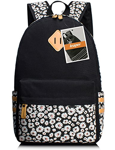 Leaper Floral Canvas School Backpack Laptop Bag Travel Shoulder Bag Floral Black
