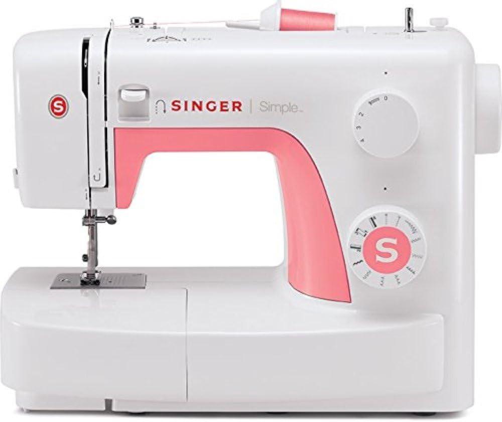 Singer Simple 3210 - Máquina de coser mecánica, 10 puntadas, 120 V, color blanco y rosa