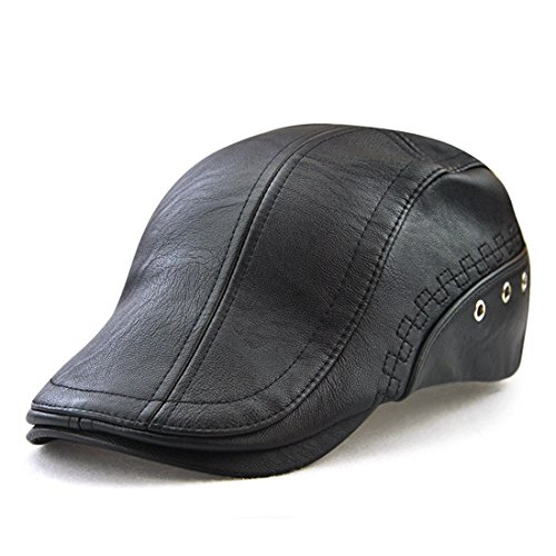 King Star Men Flat Cap PU Leather Vintage newsboy Cap IVY Driving Hunting Caps Black