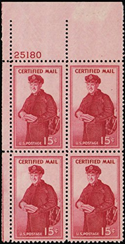 1955 15 Cent Certified Mail Plate Number Block of Four Collectible Stamps Scott FA1 By USPS