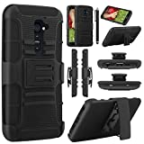 LG G2 Case, [Kick-Stand Holster Belt Clip ] Case for LG G2, EC™ Rugged Hybrid Impact Heavy Duty Hard Rubber Cover Case for LG G2 With Belt Swivel Clip Holster + Screen Protector and Stylus(AT&T D800, T-Mobile D801,Global D802) (Black/Black)