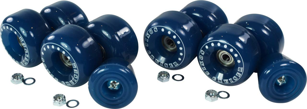 Outdoor Roller Skate Wheel Upgrade Kit - Outdoor Replacement Wheels for Quad Skate - Indoor to Outdoor Wheel Conversion Kit - 8 Wheels, 8 Bearings, Lock Nuts, Replacement Toe Stop Included (Blue) by Pacer