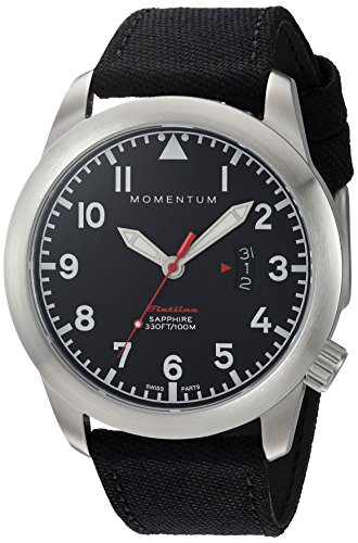 Momentum Men's Swiss Quartz Stainless Steel and Canvas Watch, Color:Black (Model: 1M-SP18BS6B)