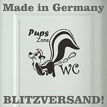 Stinktier Wandtattoo Pups Zone WC Badezimmer Toiletten Türaufkleber Sprüche  20x19 Cm Schwarz