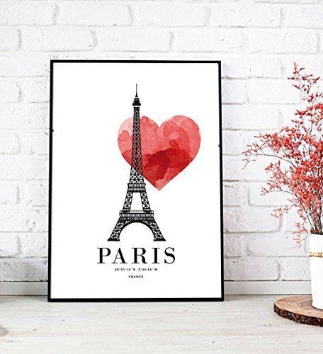 Stampa di un poster Love Paris. Poster Parigi. Stampa ricordo di viaggio. Stampa con Tour Eiffel. Regalo per lei. regalo per lui. Stampa in stile scandinavo. Stampa tipografica. Stampa decorativa. Home decor. Decorazione da muro. Idea home staging. Idea ho