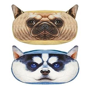 Wrapables. Dog Face Zippered Pencil Case (Set of 2), Pug & Husky