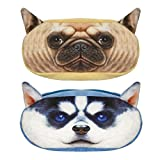 Wrapables. Dog Face Zippered Pencil Case (Set of 2), Pug & Husky