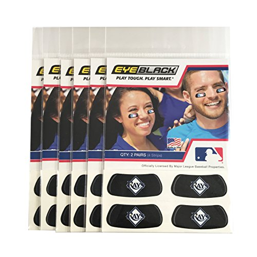 (24 Strips) Tampa Bay Rays MLB Eye Black Anti Glare Strips, Great for Fans & Athletes on Game Day