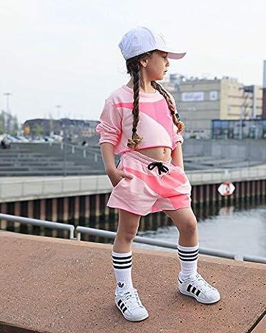 Urkutoba 1-5T Children Kids Girls Outdoor Actiive Short Oufts Long Sleeve Sweatshirt Pullover+Drawstring Short Pants Set