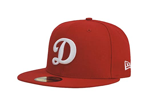 finest selection b48dd 424ae New Era 5950 Los Angeles Dodgers D Red White Fitted Hat Cap Men s LA (