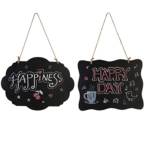 Homemaxs Chalkboard Sign Double-Sided Message Board with Hanging String - 2 Pack -