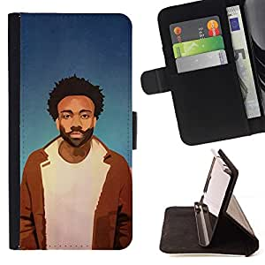 DEVIL CASE - FOR HTC One M7 - Chill Rasta Black Guy - Style PU Leather Case Wallet Flip Stand Flap Closure Cover