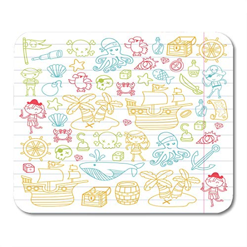 Boszina Mouse Pads Children Playing Pirates Boys and Girls Kindergarten School Preschool Halloween Party Treasure Island Mouse Pad 9.5