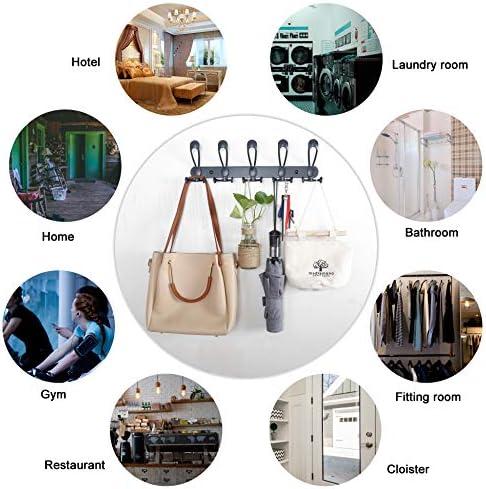 WEBI Kleiderhaken /über der T/ür Hakenleiste R/ückseite des Badezimmers Modern Large R//Antikkupfer T/ür-Handtuchhalter mit 6 Haken zum Aufh/ängen T/ürgarderobe f/ür Kleidung