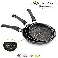 Lot de 3 Poêles 20 / 24 / 28 cm en pierre granité et céramique - tous feux dont induction - Natural Cook Professionnel