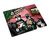 Home of Schnauzers 4 Dogs Playing Poker Large Tempered Cutting Board 15.74'' x 11.8'' x 5/32''