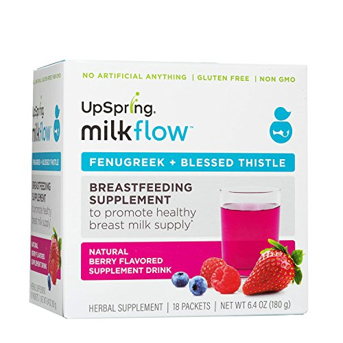UpSpring Baby Milkflow Fenugreek and Blessed Thistle Powder Berry Drink Mix, 18 Count Lactation Supplement Packets to Promote Healthy Breast Milk Supply (Best Breast Milk Enhancer)